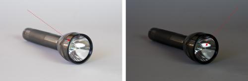 Hier wurde beide Male Spotmessung verwendet. Die Pfeile kennzeichnen den Messpunkt.