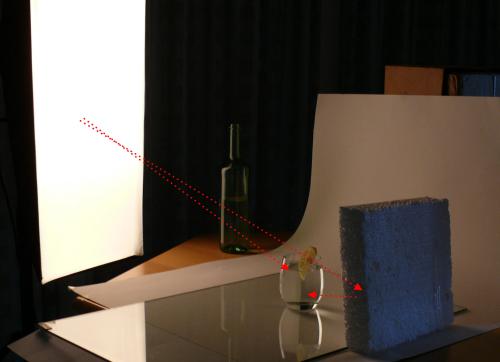 Hier wird das Motiv links von der Seite beleuchtet und von recht mit einen Reflektor aufgehellt. Dies ist hier ein einfaches weißes Stück Styropor.