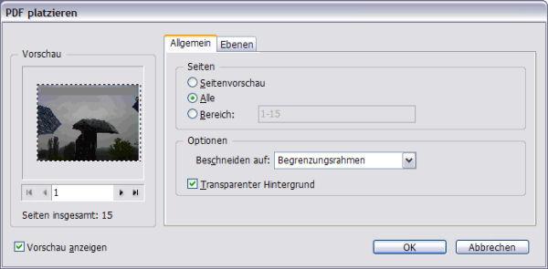 Dialogfenster PDF platzieren