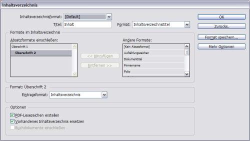 Dialogfenster Inhaltsverzeichnis