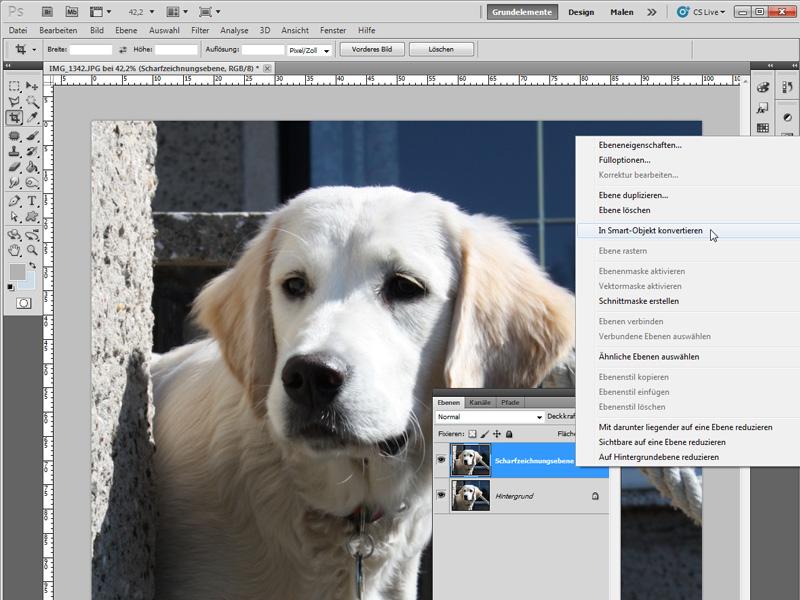 Beispielbild - Ebene duplizieren und Smart-Objekt erstellen