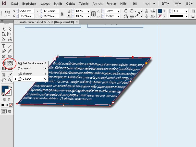 InDesign frei transformieren – InDesign perspektivisch verzerren ...