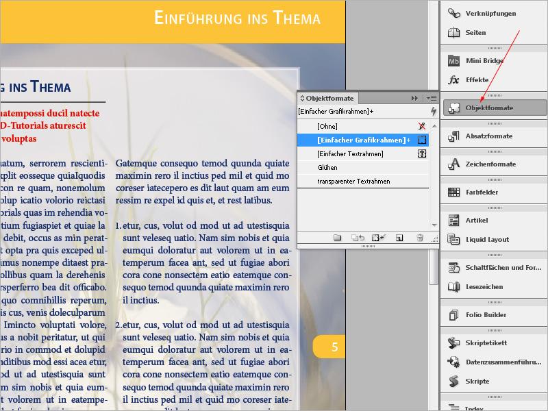 InDesign Objektformate, Snippet, Bibliothek: eigene InDesign ...