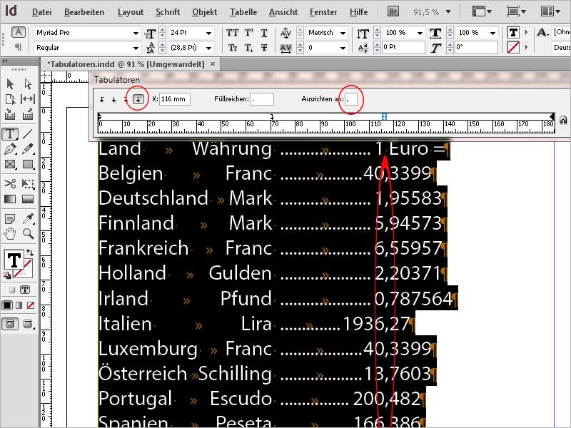 Tabulatoren InDesign – InDesign Tabulator in Tabelle | InDesign ...