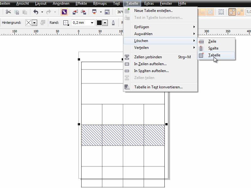 Coreldraw x6 grundlagen hilfsmittel tabelle corel for Tabelle 7 spalten