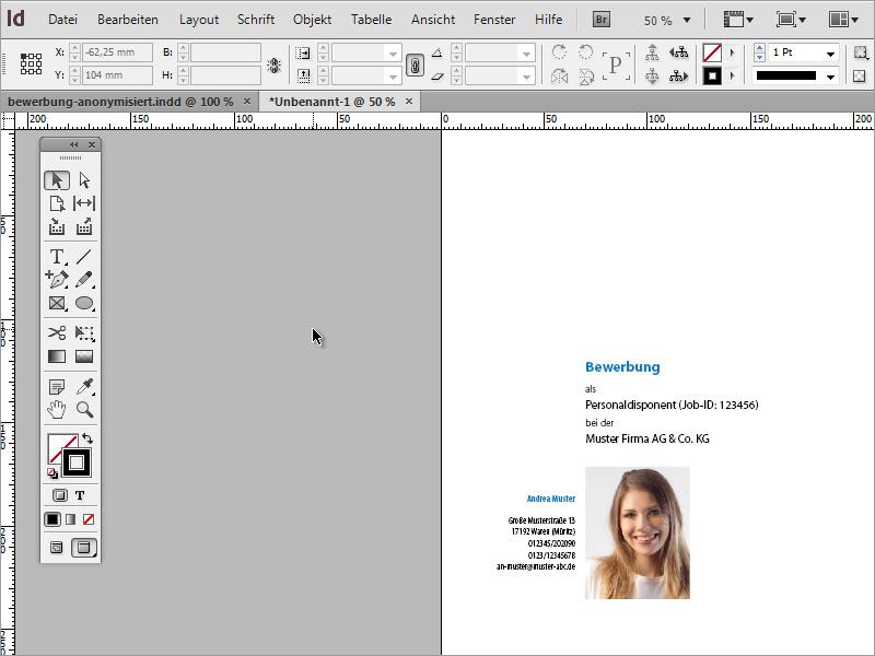 bewerbung gestalten bewerbung design der minimalistische stil indesign tutorialsde - Schriftgre Lebenslauf