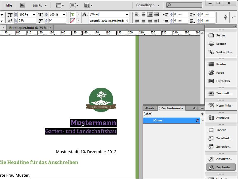 Tutorial Briefpapier Klassischmodern Und Verspielt In Adobe