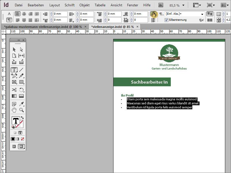 Tutorial Stellenanzeige in Adobe InDesign gestalten