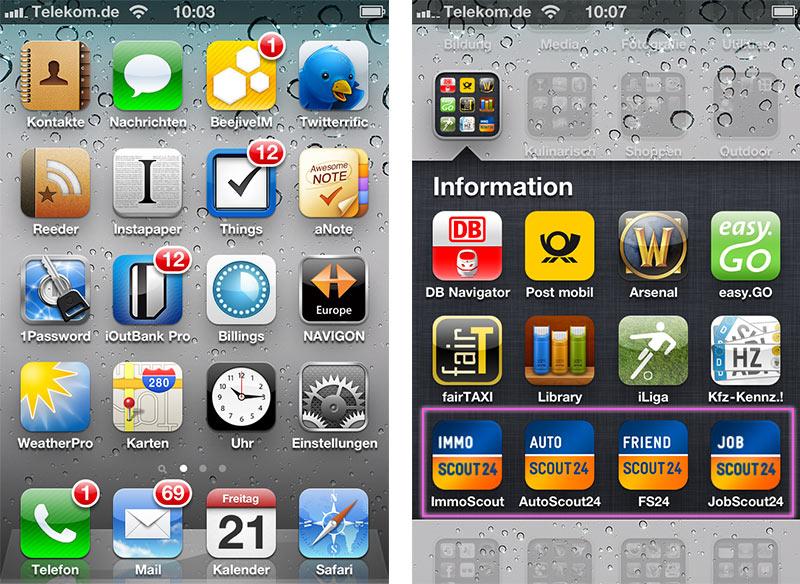 Ansicht Icondarstellungen iPhone