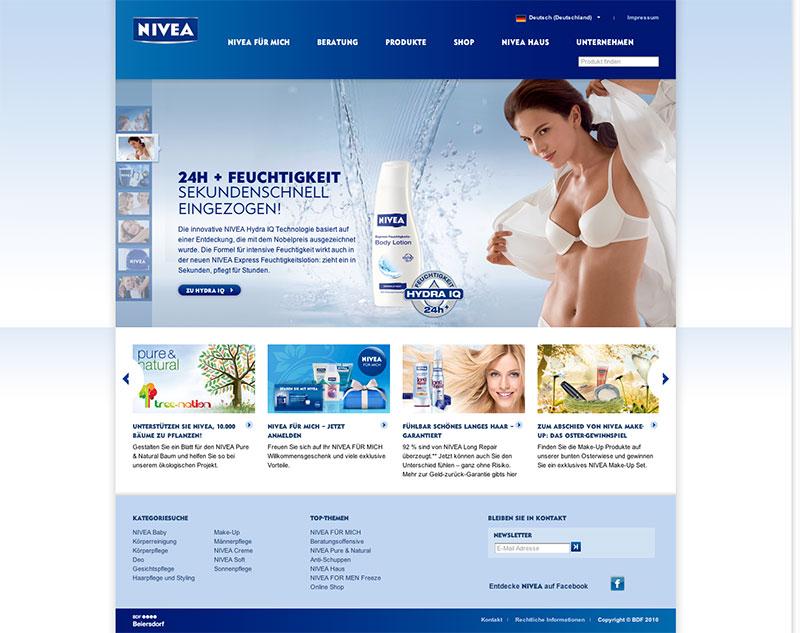 Beispielwebsite in Blau