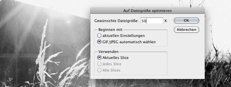 Gewünschte Dateigröße eintragen