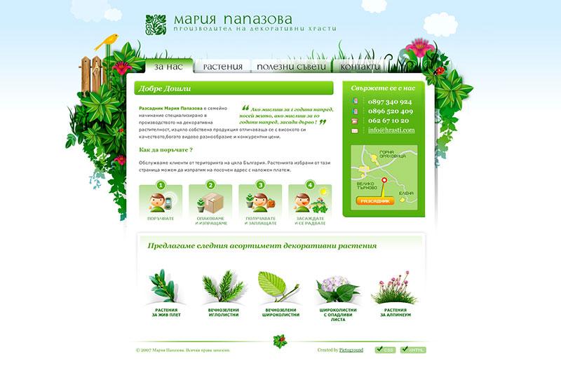 Beispielwebsite in Grün