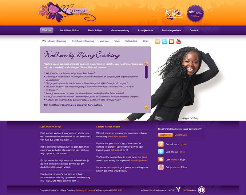 Beispielwebsite in Violett