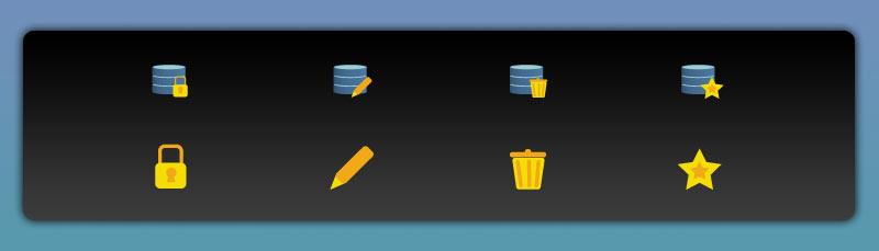 Gegenüberstellung einer Iconserie mit bzw. ohne überflüssige Details