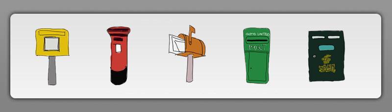 Scribbles verschiedener Briefkästentypen