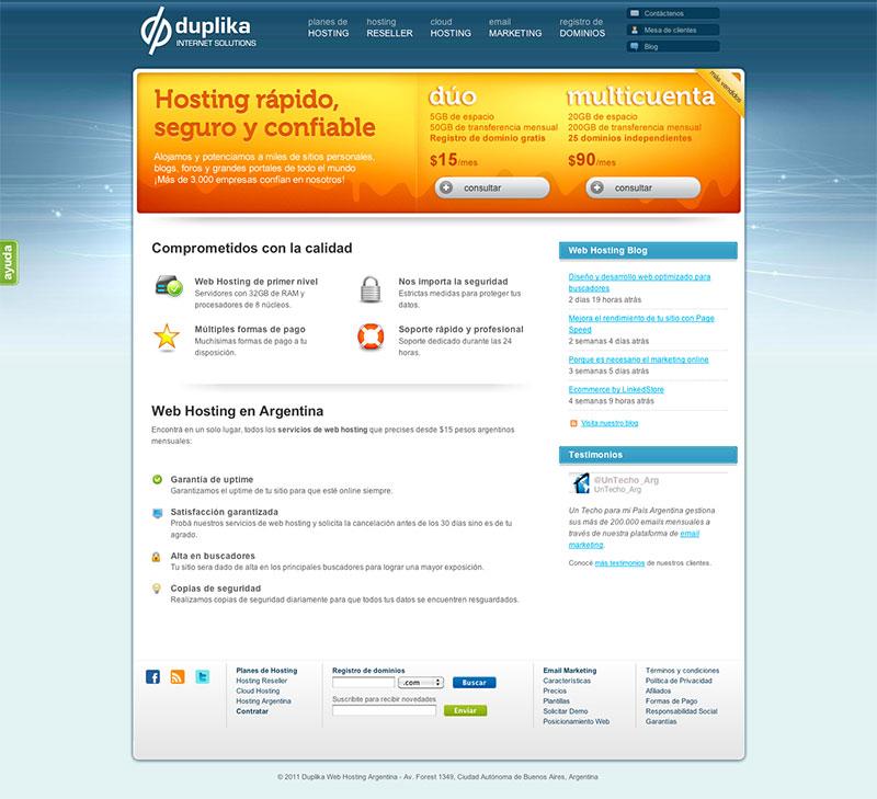 Beispielwebsite mit Komplementärkontrast