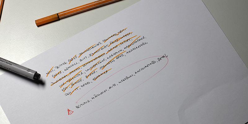 Aussortierte Begriffe auf der Liste