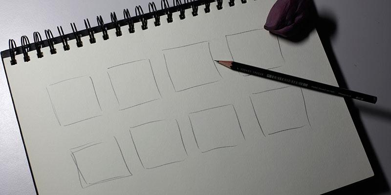 Die Zeichenfläche wird mit Quadraten eingegrenzt