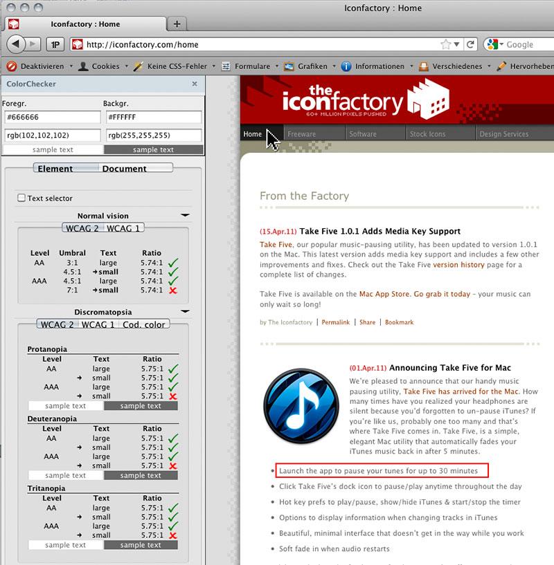 Prüfen von Farbigkeit im Browser