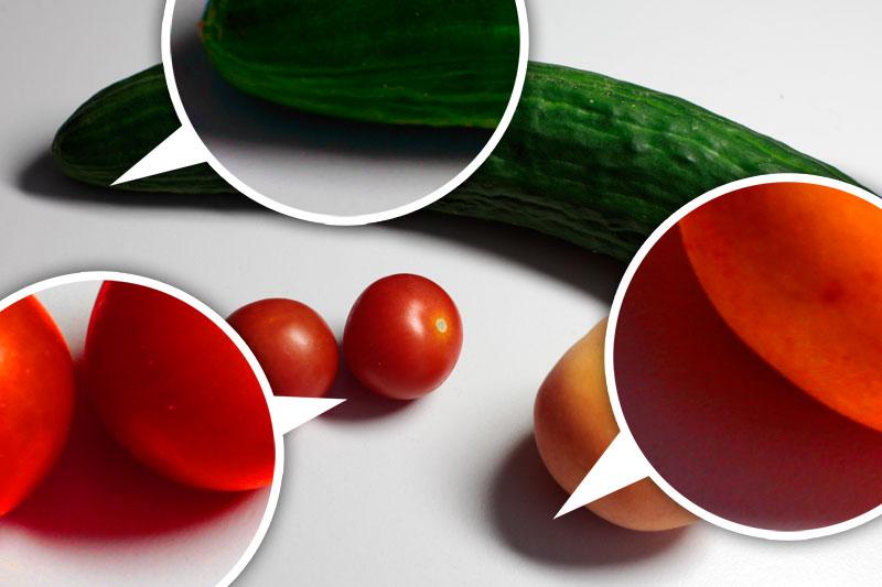 Verschiedenfarbiges Gemüse, dass den Schatten farbig gestaltet.