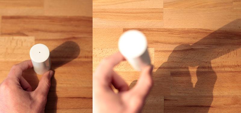 Kürzere und längere Schatten durch Abstand und Winkel der Lichtquelle