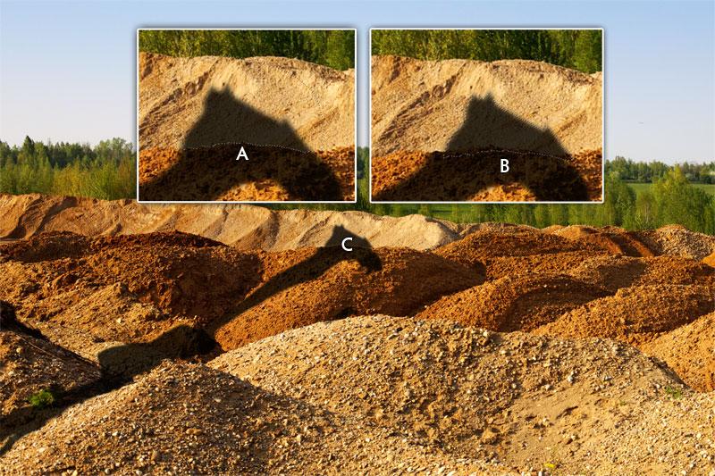 Der Schatten wird hinter jedem Sandhügel manuell ein Stück verschoben