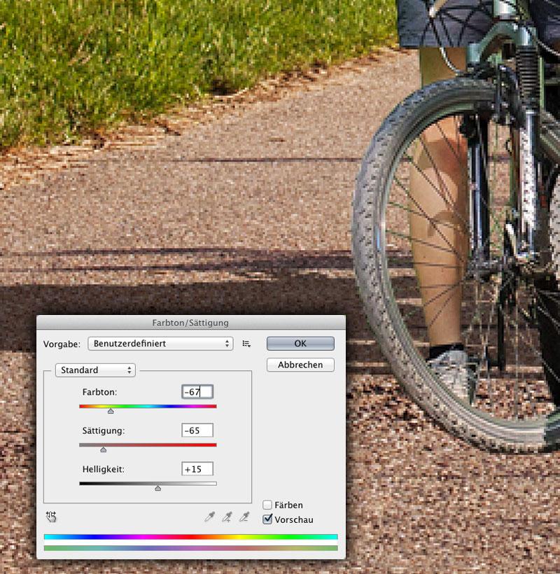 Photoshop-Dialog Farbton Sättigung mit den Werten: Farbton 67, Sättigung -65 und Helligkeit +15