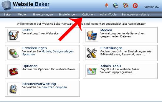 websitebaker optionen
