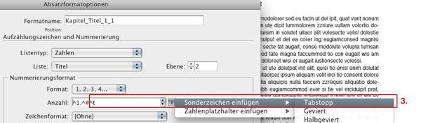 Absatzformat Kapitel_Titel_1_1, Nummerierungseinstellungen, Tabstopps