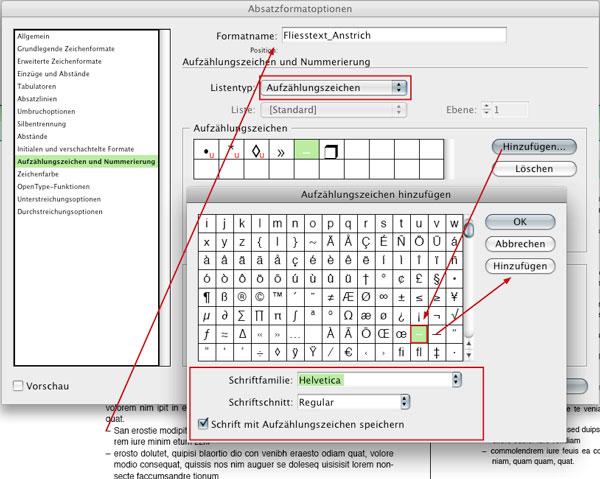 Absatzformat Fliesstext_Anstrich, Aufzählungszeichen
