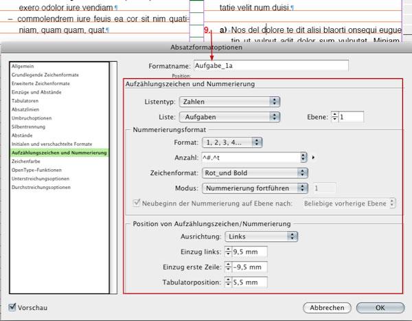 Absatzformat Aufgabe_1a, Nummerierungseinstellungen