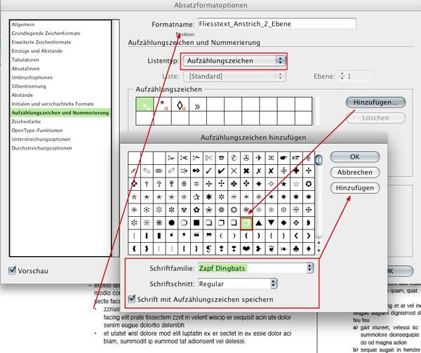 Absatzformat Fliesstext_Anstrich_2_Ebene, Aufzählungszeichen
