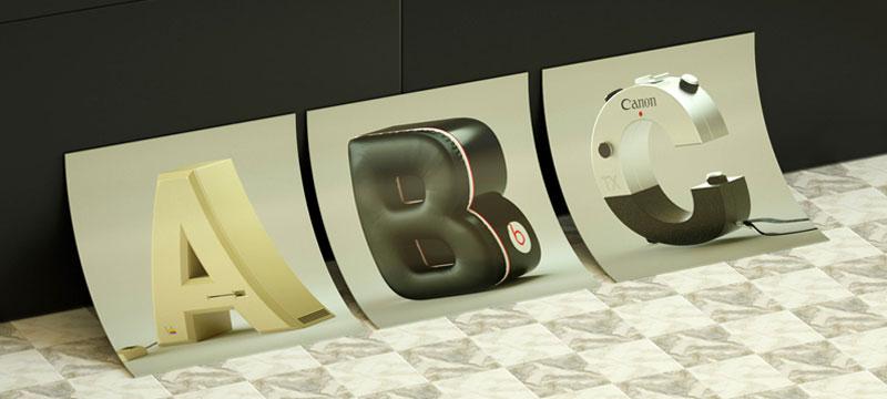 Elektronische Geräte in Buchstabenform